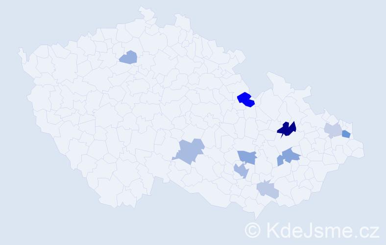 Příjmení: 'Cvilinková', počet výskytů 31 v celé ČR