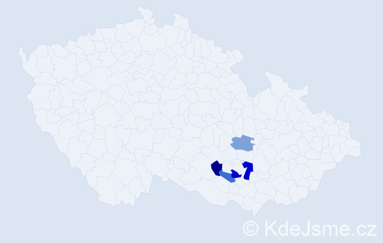 Příjmení: 'Hőklová', počet výskytů 7 v celé ČR