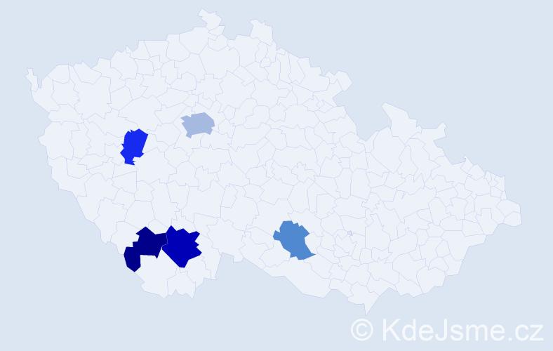 Příjmení: 'Debřička', počet výskytů 9 v celé ČR