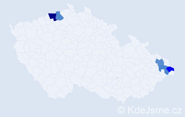 Příjmení: 'Holpová', počet výskytů 7 v celé ČR
