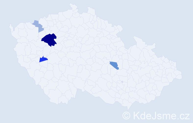 Příjmení: 'Kýna', počet výskytů 10 v celé ČR