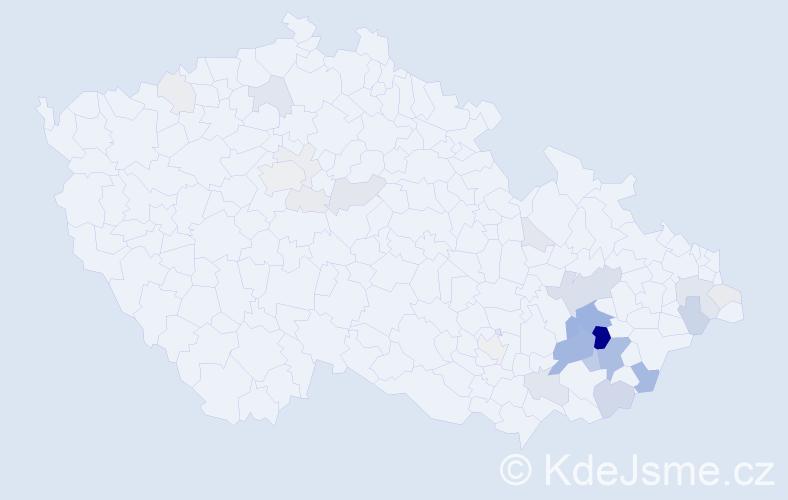 Příjmení: 'Kojecký', počet výskytů 104 v celé ČR
