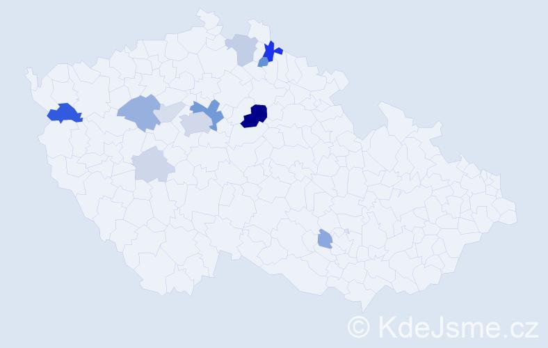 Příjmení: 'Cón', počet výskytů 34 v celé ČR