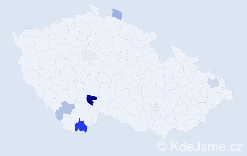 Příjmení: 'Grulová', počet výskytů 17 v celé ČR