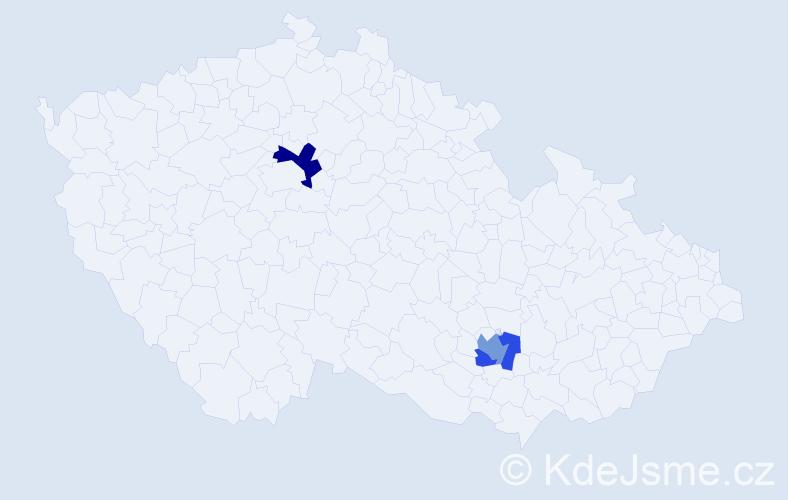 Příjmení: 'Krojer', počet výskytů 5 v celé ČR