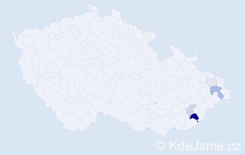 Příjmení: 'Číčela', počet výskytů 7 v celé ČR