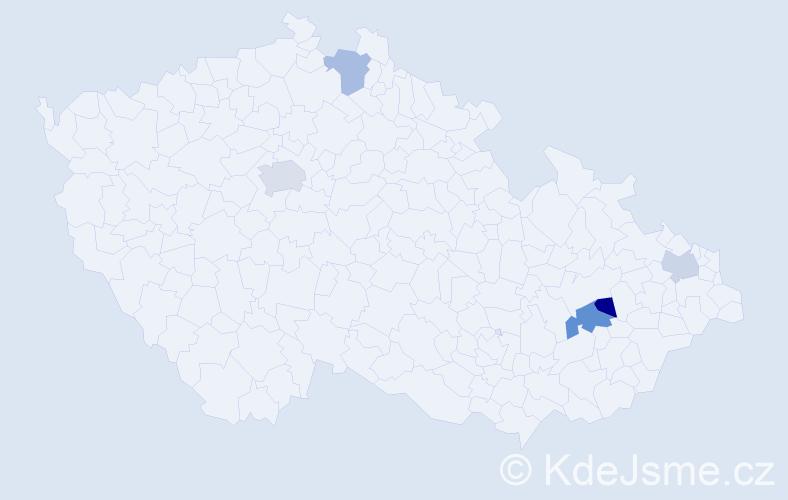 Příjmení: 'Ďuričková', počet výskytů 7 v celé ČR