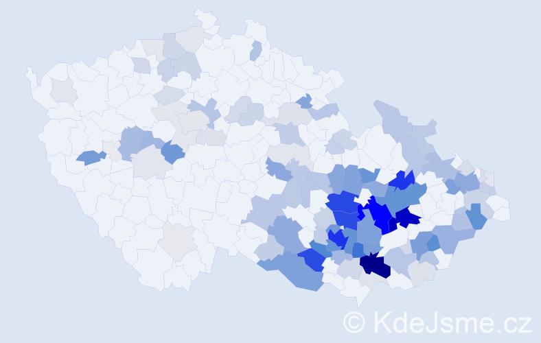 Příjmení: 'Kratochvil', počet výskytů 417 v celé ČR