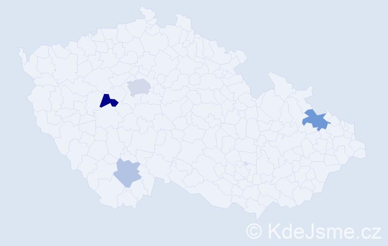 Příjmení: 'Gebrian', počet výskytů 8 v celé ČR