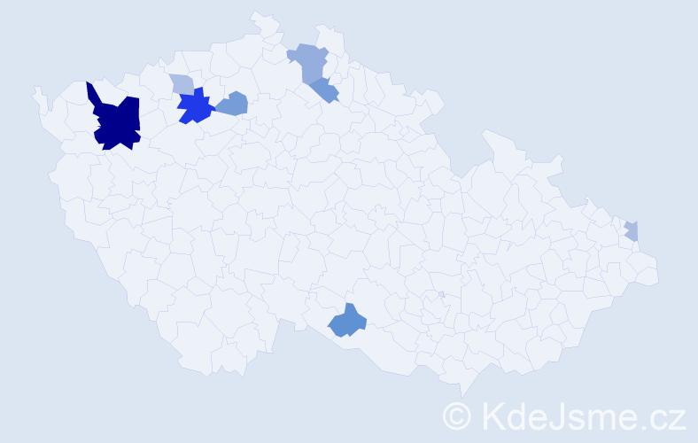 Příjmení: 'Gáspárová', počet výskytů 18 v celé ČR