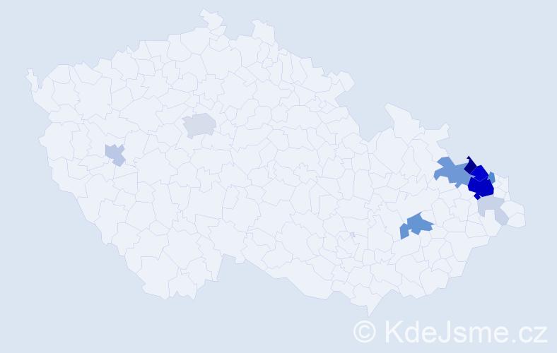 Příjmení: 'Bochňák', počet výskytů 52 v celé ČR