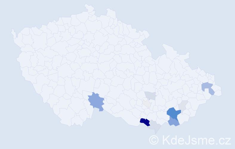 Příjmení: 'Čevelíková', počet výskytů 31 v celé ČR