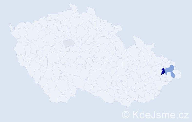 Příjmení: 'Gembčík', počet výskytů 5 v celé ČR