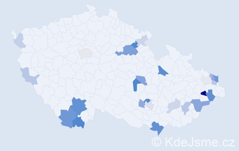 Příjmení: 'Golasová', počet výskytů 67 v celé ČR