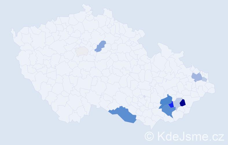 Příjmení: 'Col', počet výskytů 25 v celé ČR