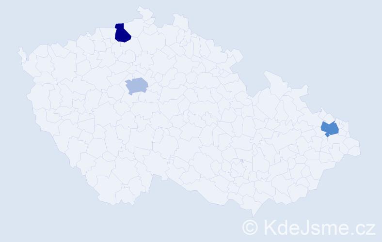 Příjmení: 'Kalafút', počet výskytů 3 v celé ČR