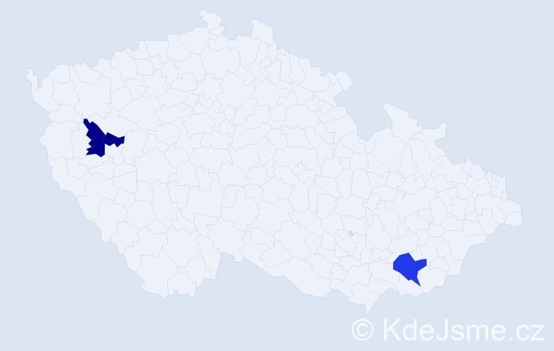 Příjmení: 'Ižvolt', počet výskytů 2 v celé ČR
