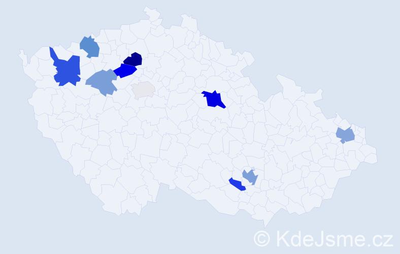 Příjmení: 'Hančák', počet výskytů 24 v celé ČR