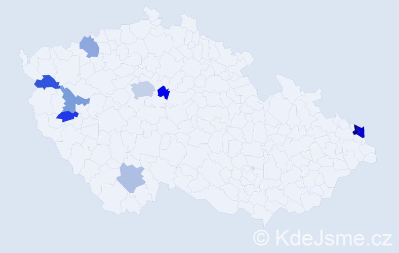 Příjmení: 'Erhardtová', počet výskytů 17 v celé ČR
