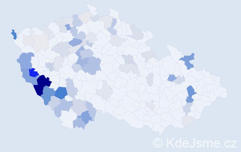 Příjmení: 'Hais', počet výskytů 262 v celé ČR