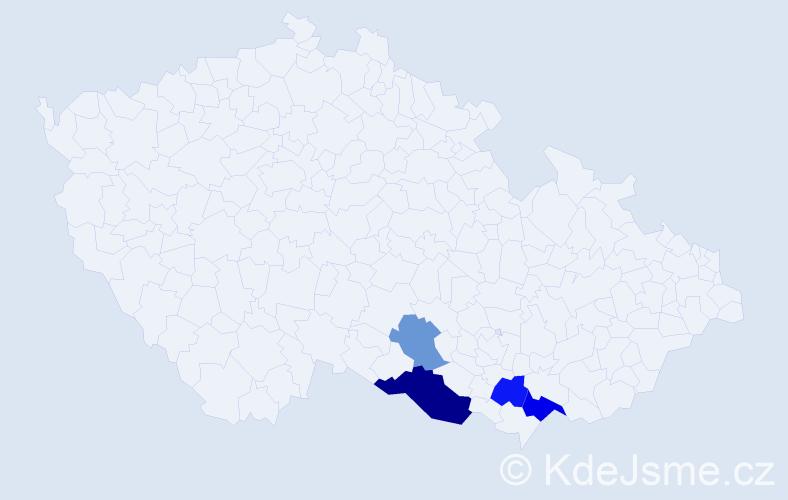 Příjmení: 'Anšlágová', počet výskytů 7 v celé ČR