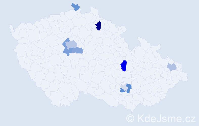 Příjmení: 'Abbasová', počet výskytů 19 v celé ČR