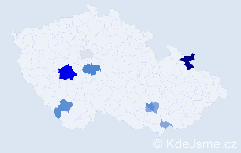Příjmení: 'Gaža', počet výskytů 21 v celé ČR