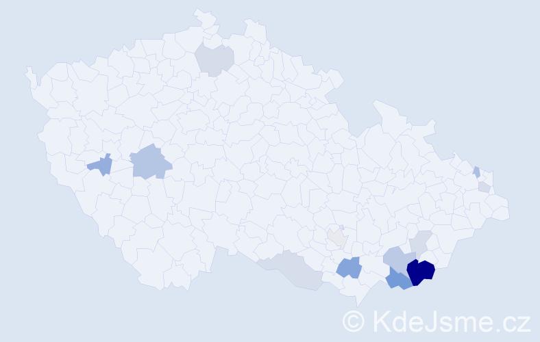 Příjmení: 'Breznická', počet výskytů 29 v celé ČR