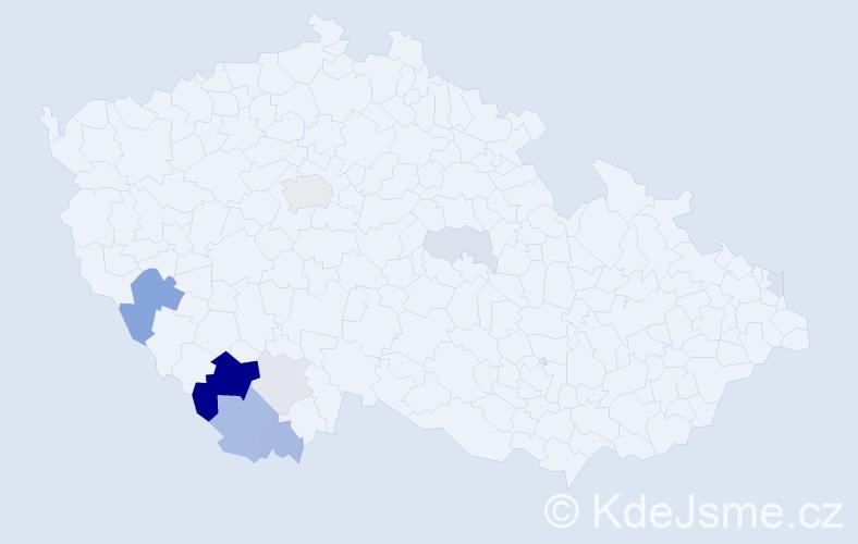 Příjmení: 'Kindlman', počet výskytů 25 v celé ČR