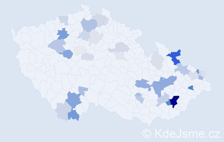 Příjmení: 'Hluštíková', počet výskytů 124 v celé ČR