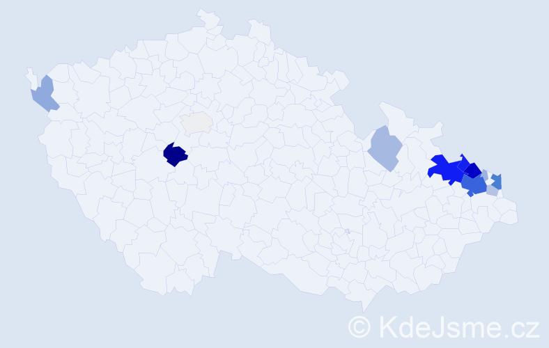 Příjmení: 'Gatnar', počet výskytů 64 v celé ČR