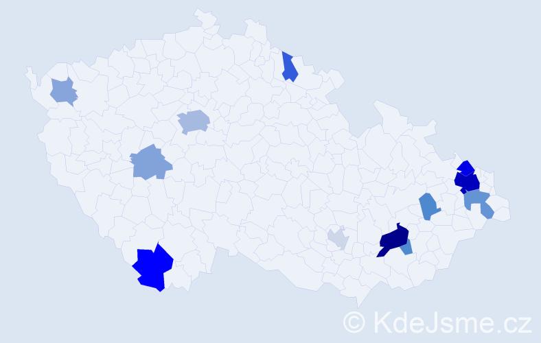 Příjmení: 'Adamíčková', počet výskytů 33 v celé ČR
