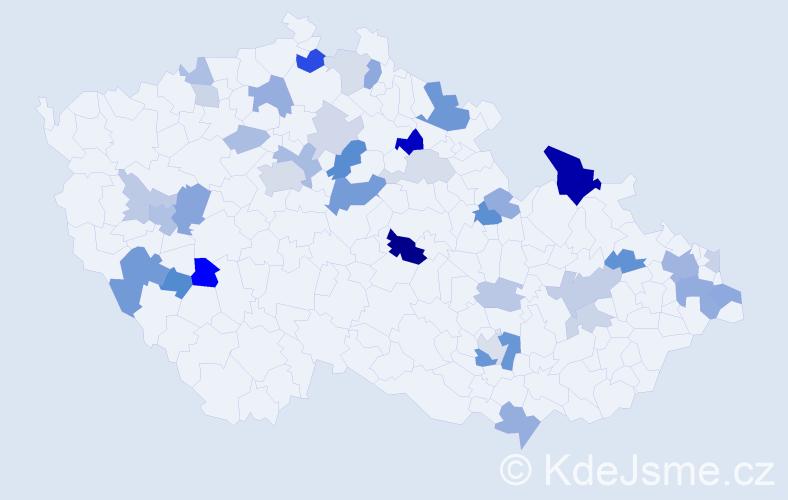 Příjmení: 'Kocúrová', počet výskytů 87 v celé ČR