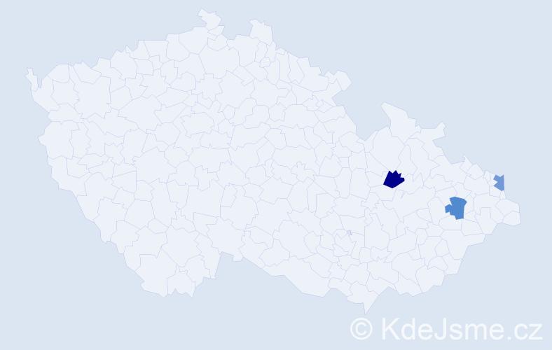 Příjmení: 'Csepcsárová', počet výskytů 3 v celé ČR