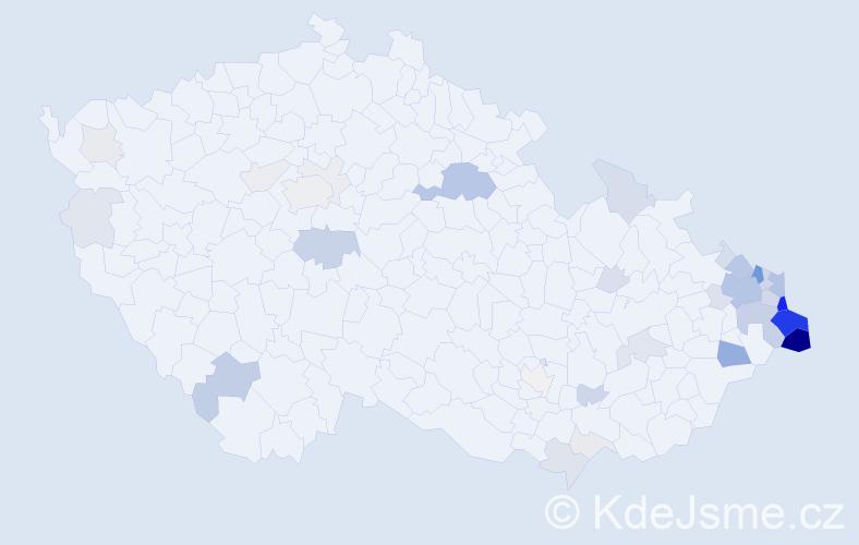 Příjmení: 'Bury', počet výskytů 173 v celé ČR