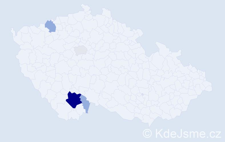 Příjmení: 'Jaukerová', počet výskytů 31 v celé ČR