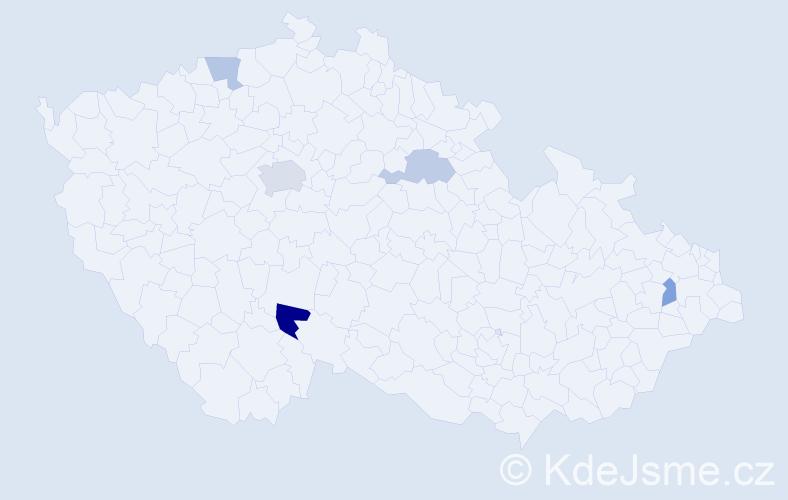 Příjmení: 'Kálna', počet výskytů 8 v celé ČR