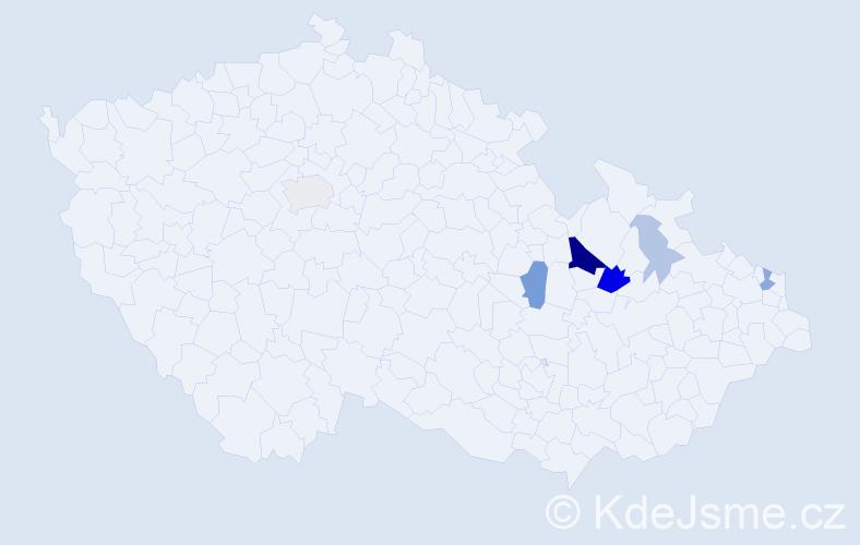 Příjmení: 'Korunová', počet výskytů 18 v celé ČR