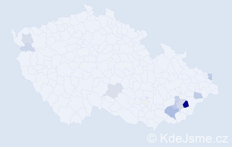 Příjmení: 'Jurygáčková', počet výskytů 33 v celé ČR
