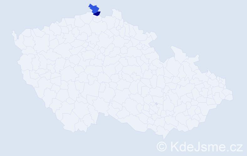 Příjmení: 'Johneová', počet výskytů 2 v celé ČR