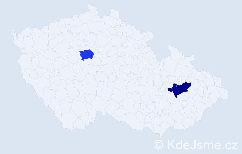 Příjmení: 'Aleksić', počet výskytů 5 v celé ČR