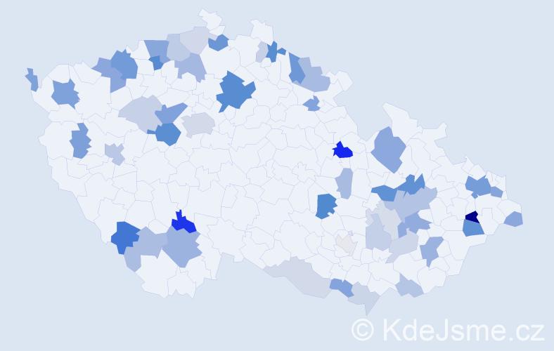 Příjmení: 'Deáková', počet výskytů 130 v celé ČR