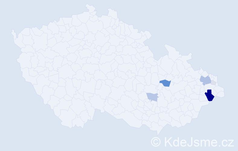 Příjmení: 'Hlísta', počet výskytů 21 v celé ČR