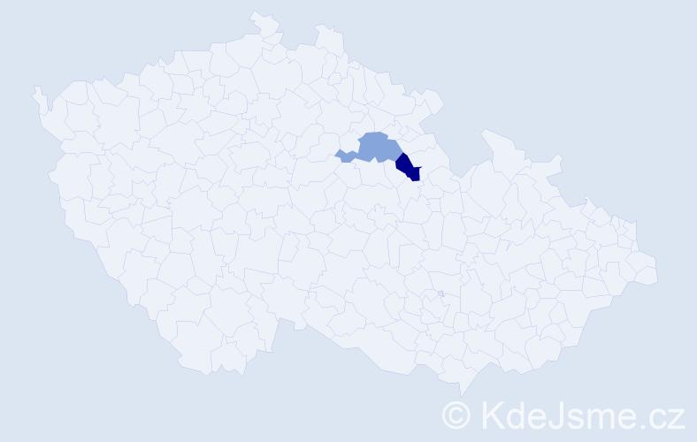 Příjmení: 'Esperáková', počet výskytů 2 v celé ČR