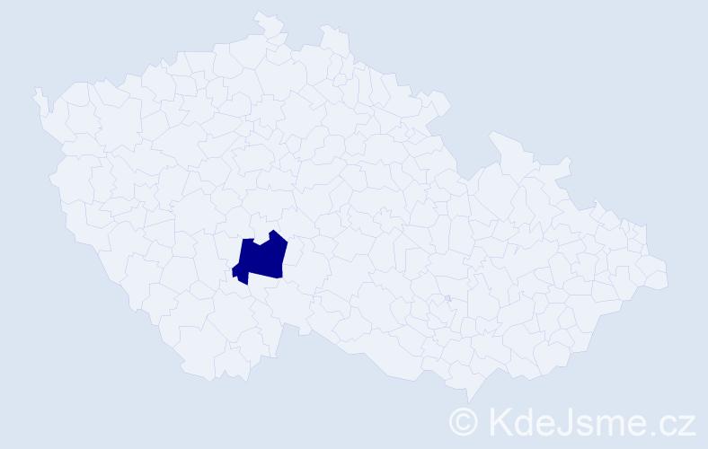 """Příjmení: '""""Cisárová Andreasová""""', počet výskytů 1 v celé ČR"""