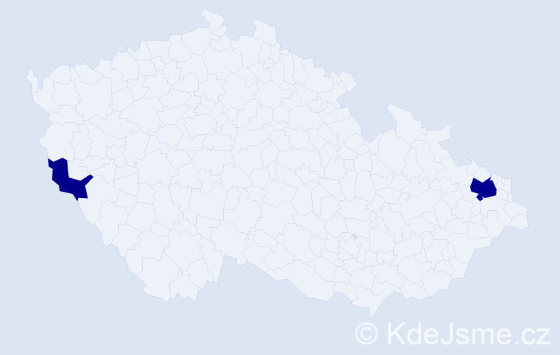 Příjmení: 'Ódor', počet výskytů 6 v celé ČR