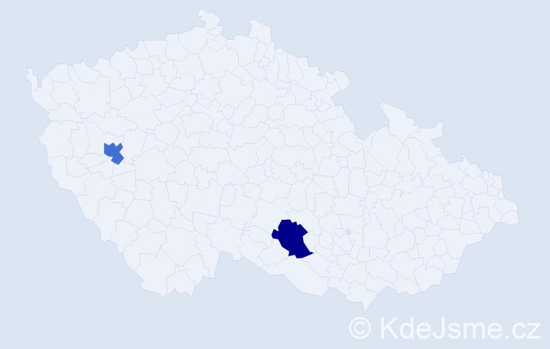 Příjmení: 'Ewert', počet výskytů 2 v celé ČR