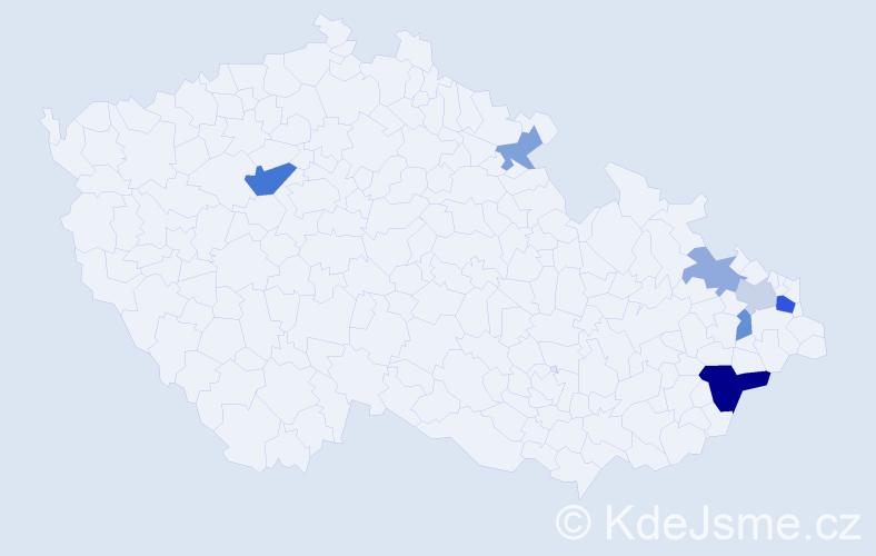Příjmení: 'Čarnota', počet výskytů 14 v celé ČR