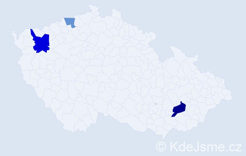 Příjmení: 'Gutt', počet výskytů 5 v celé ČR