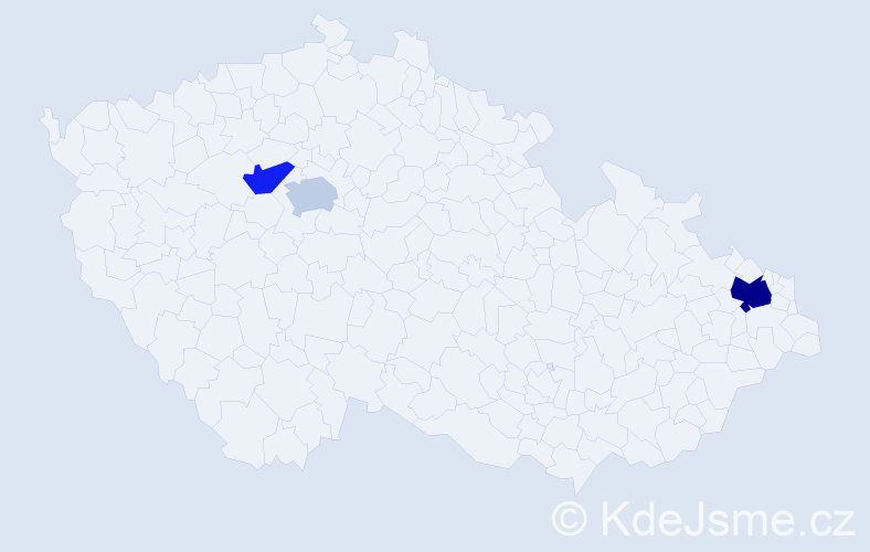 Příjmení: 'Kurbanova', počet výskytů 5 v celé ČR